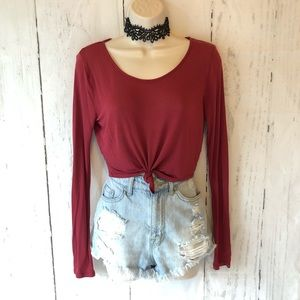 Brick red knotted hem crop top